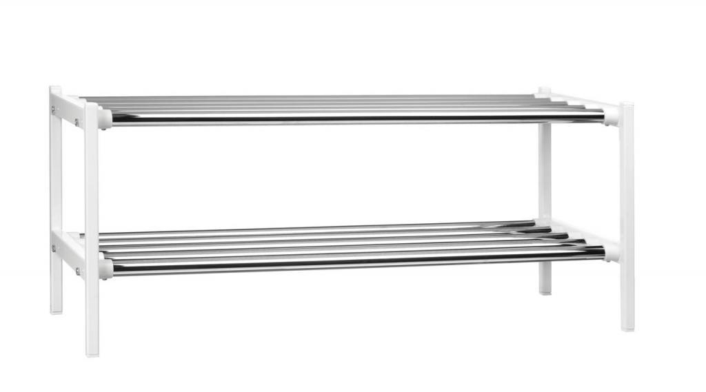EX576 2 Skohylla fristående med 2 plan av kromade rör vit Enwex