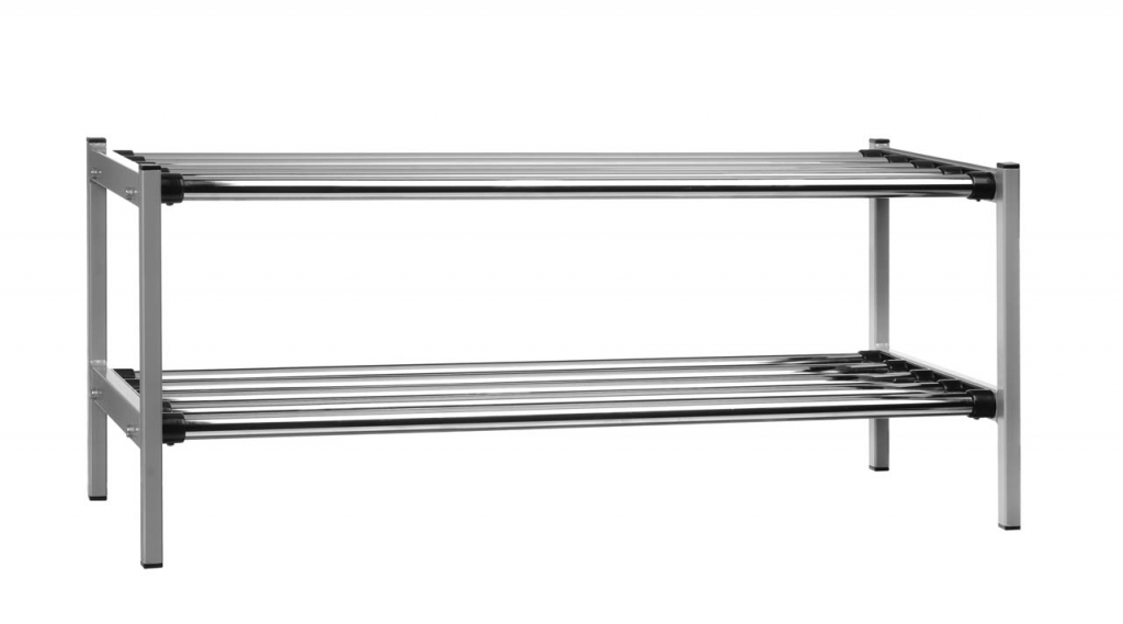 EX576 2 Skohylla fristående med 2 plan av kromade rör gråmetallic Enwex