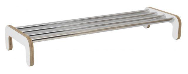 EX856 Skohylla fristående med kromade rör/vit